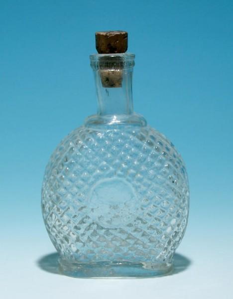f171/ Alte Warzenflasche mit Medaillon und Abriss.