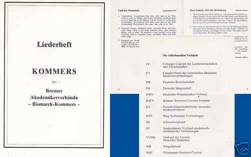 Studentika - Liederheft / Kommers der Bremer Akademikerverbände-Bismarck