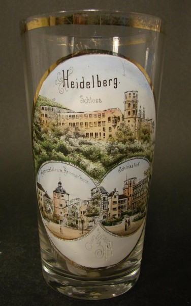 Andenken-, Bierglas HEIDELBERG, um 1900.