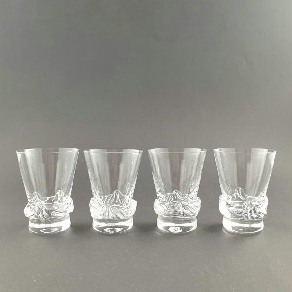 4 Wasser-, Bechergläser von Daum / Serie SORCY, signiert.
