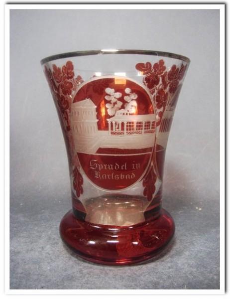 Biedermeier - Becherglas mit Ansicht von KARLSBAD, 19.Jh.