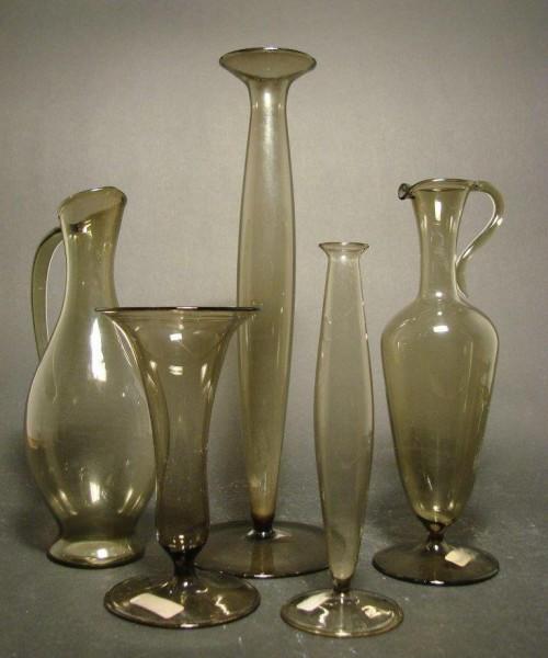5 Glasvasen, lampengeblasen. Lauscha 1950er Jahre.