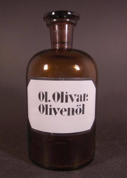 Apothekenflasche OL. OLIVAR - Olivenöl.