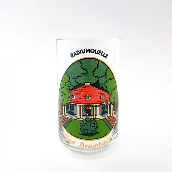 """Andenken-, Brunnenglas von """"BAD BRAMBACH"""", Radiumquelle."""