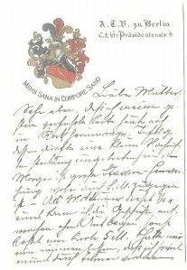 Studentika - Postkarte ATV zu BERLIN, gelaufen 1913