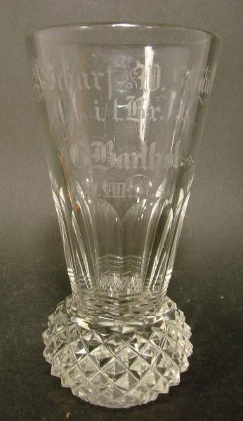 Freimaurer - Logenglas, sog. Kanone, datiert (18)91.