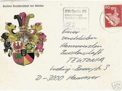 Studentika - Postkarte Burschenschaft der MÄRKER an TEUTONIA HANNOVER
