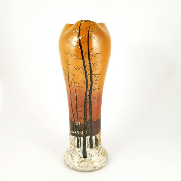 Jugendstil - grosse Vase mit Winterlandschaft. Legras, um 1920.