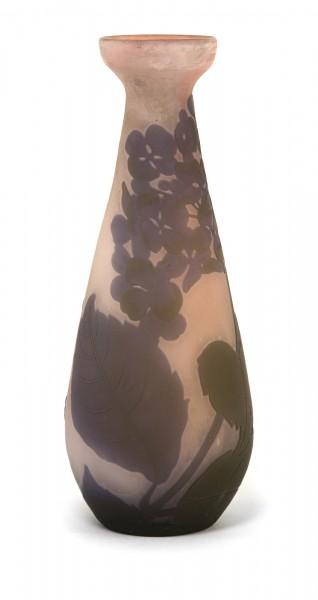 Jugendstil - Vase mit Hortensie. Gallé, 1920er Jahre.