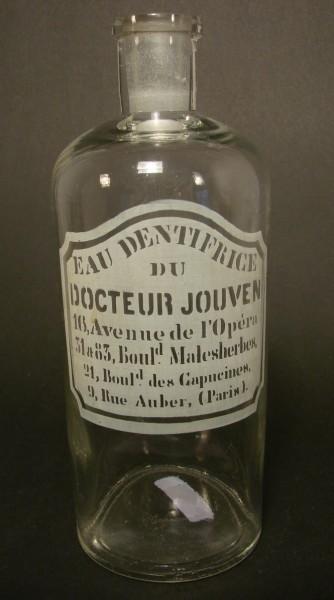 Apothekenflasche / Mundwasser Flasche EAU DENTIFRICE DOCTEUR JOUVEN, Frankreich Ende 19.Jh.