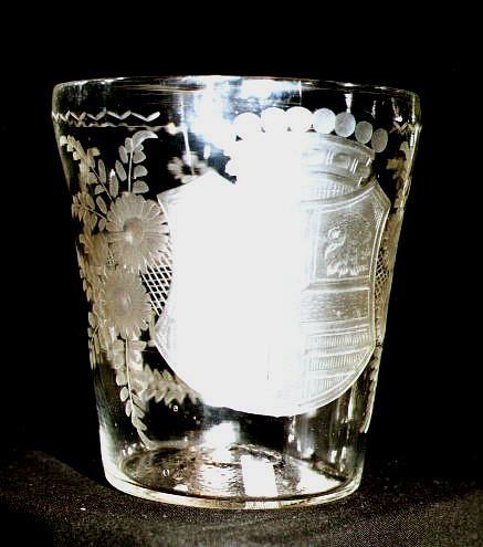 """Barock - großes Becherglas mit Monogramm """"OVG 1791"""". Norddeutsch, 18.Jh."""