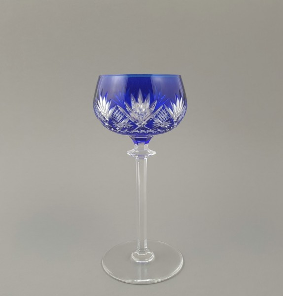 Römer / Weinglas mit kobaltblauem Überfang. VSL Val Saint Lambert, um 1920.