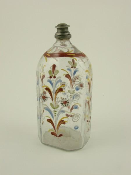 Schnapsflasche mit floraler Emailbemalung, 18./19.Jh.