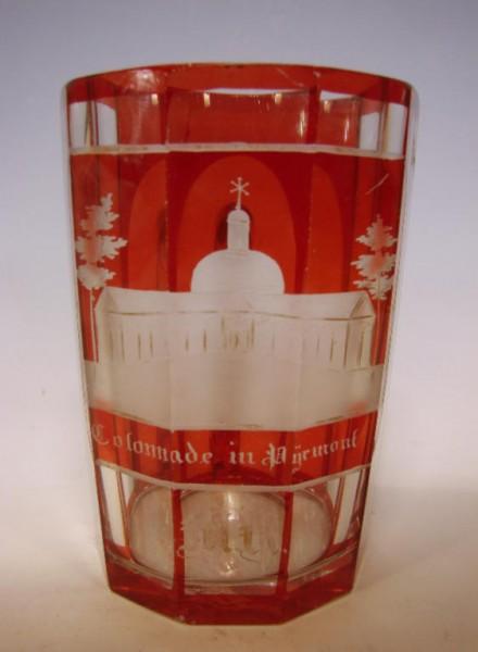 Ansichten-, Henkelbecher Colonnade in PYRMONT, um 1860.