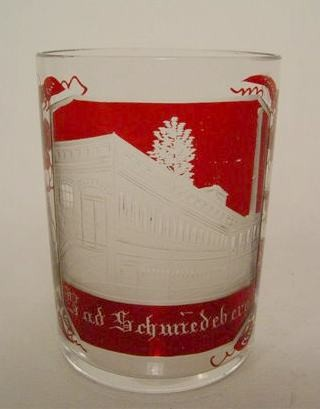 Ansichten-, Becherglas BAD SCHMIEDEBERG. Böhmen, Mitte 19.Jh.