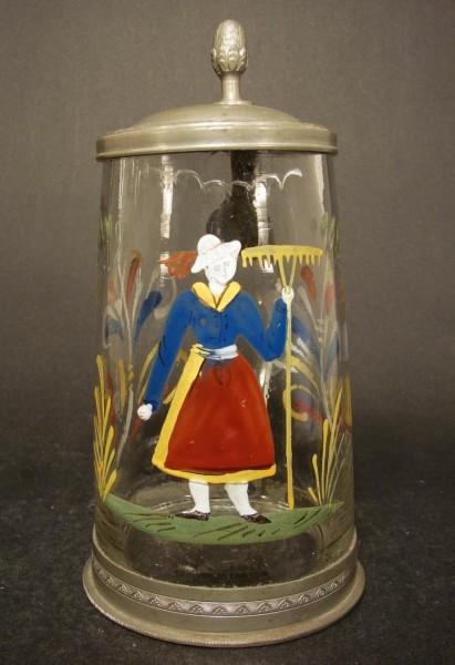 Zunft-, Bierkrug mit Gärtnerin, um 1800.