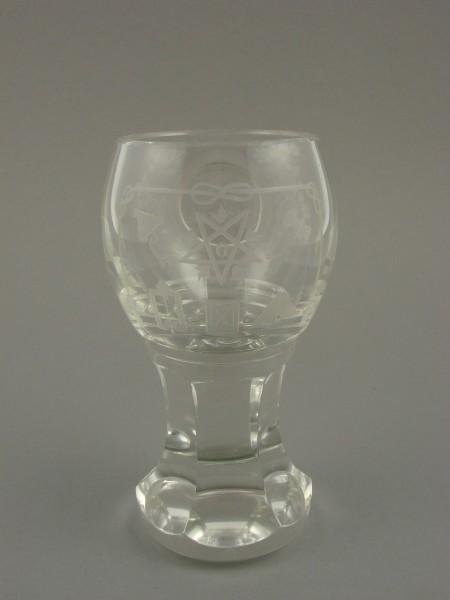 Freimaurer - Logenglas mit Symbolen, Rosenblüten und Widmung. Deutsch, um 1920.