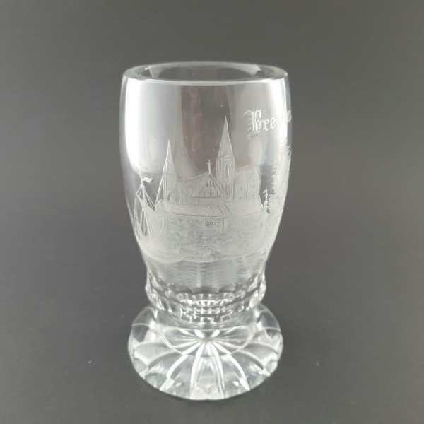Andenken-, Pokalglas mit Panoramaansicht von BRESLAU.