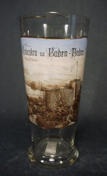Andenken-, Bierglas mit lithographierter Ansicht BADEN-BADEN, um 1900