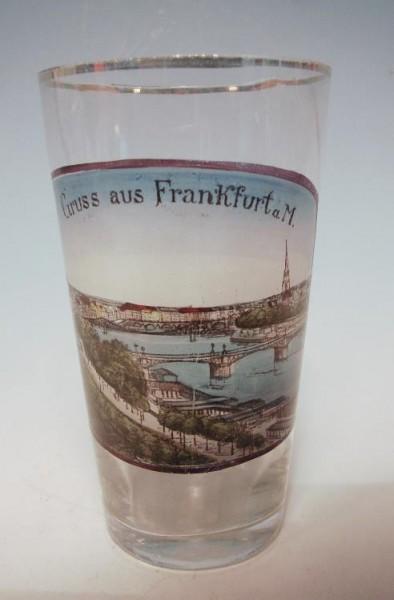 """Andenken-, Bierglas """" Gruss aus Frankfurt a.M."""