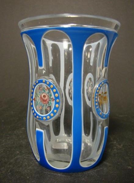 Biedermeier - Becherglas mit Doppelüberfang, um 1840.