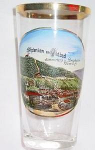 Andenken-, Becherglas von WILDBAD / Schwarzwald, um 1910.