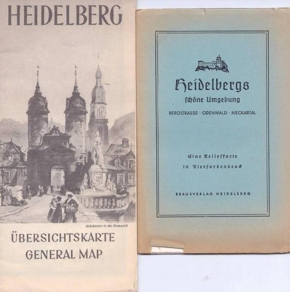 Studentika - 9 Heidelberger Schriften / Bücher und Karten von 1920-1940