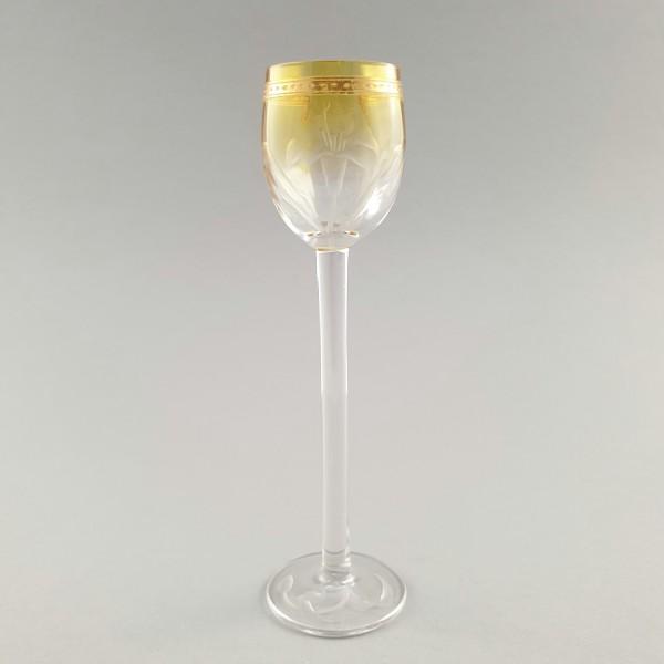 Jugendstil - Likörglas mit Blüten. Moser, um 1900.
