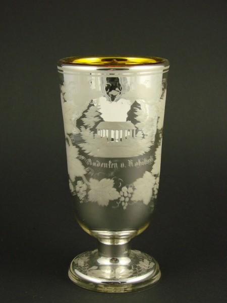 Seltener Bauernsilber / Silberglas Ansichten-, Fussbecher ROHITSCH / Slowenien, 19.Jh.
