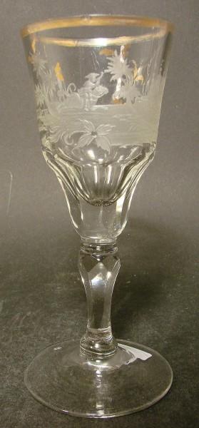 Barock -Pokalglas mit Landschaftsdarstellung. Schlesien, 18.Jh.
