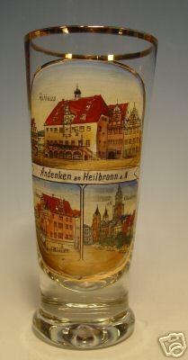 "Andenken-, Bierglas "" Andenken a. HEILBRONN "", um 1900."