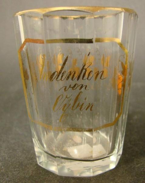 Andenken-, Becherglas OYBIN / Qybin Görlitz in Sachsen. 19.Jh.