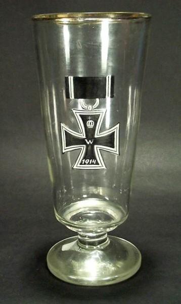 Militaria - großes Bockbierglas mit Eisernem Kreuz EK, 1914.
