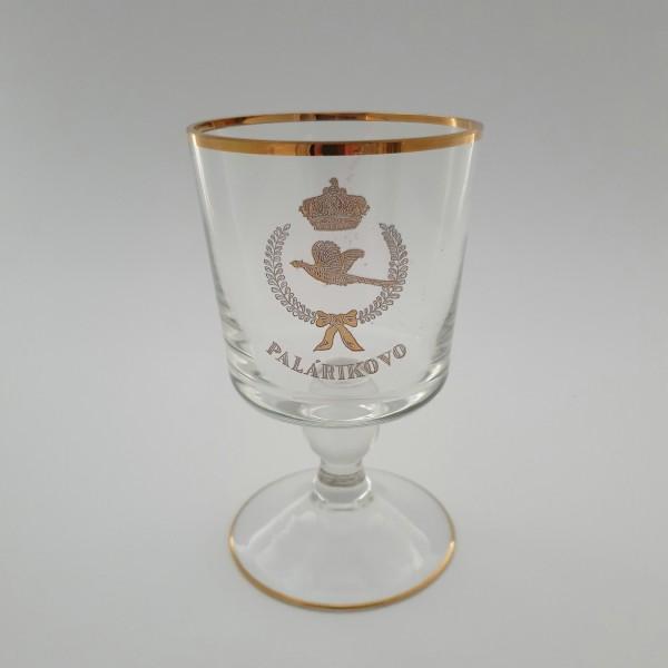 Andenken-, Pokalglas mit Wappen? und Krone von PALARIKOVO / Slowakei.