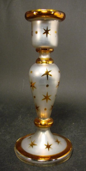 Bauernsilber / Silberglas Kerzenleuchter. Ende, 19.Jh.