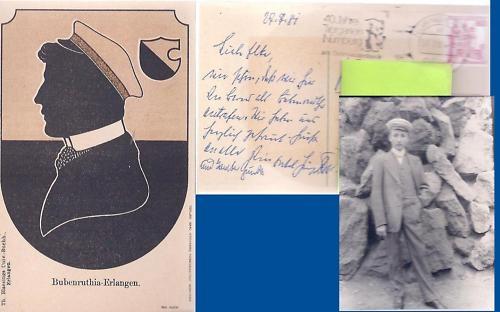Studentika - Postkarte BUBENRUTHIA ERLANGEN, gelaufen