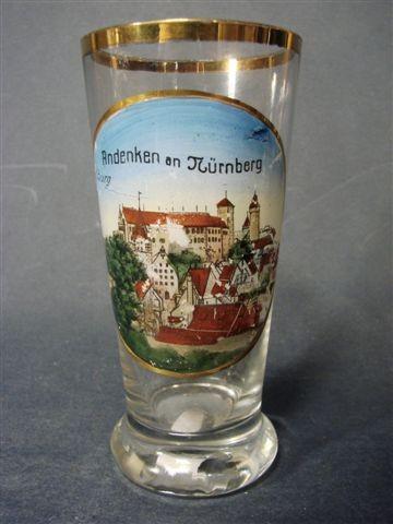 Andenken-, Becherglas mit lithographierter Ansicht NÜRNBERG, um 1900.