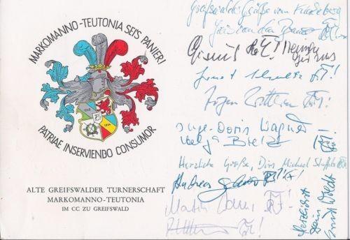 Studentika - Wappenkarte MARKOMANNO TEUTONIA,alte Greifswalder Turnerschaft