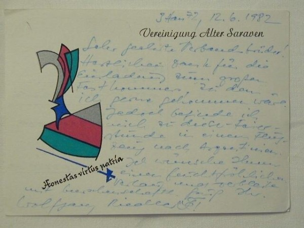 Studentika - Postkarte VEREINIGUNG ALTER SARAWEN