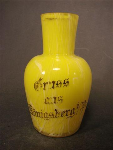 Andenken-, Glasvase GRUSS AUS KÖNIGSBERG i.Pr., um 1910.