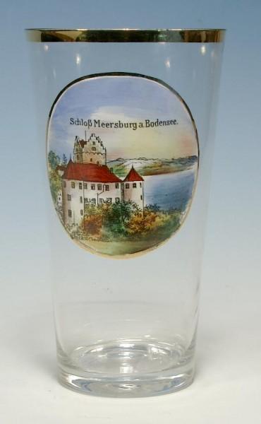 Andenken-, Bierglas Schloss MEERSBURG am Bodensee, um 1910.