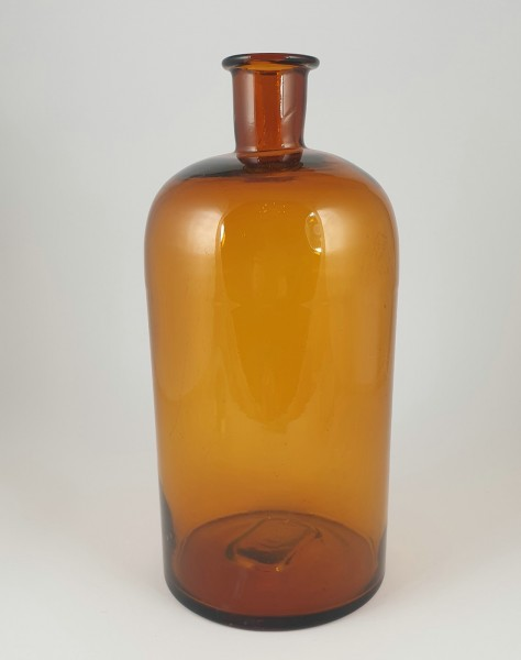 Grosse alte Apothekenflasche mit Prägung.