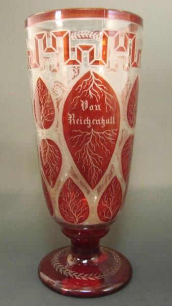 Andenken-, Fussbecherglas (BAD) REICHENHALL, Ende 19.Jh.