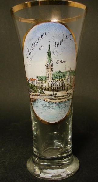 """Andenken-, Bierglas """"Gruss aus HAMBURG"""", um 1900."""