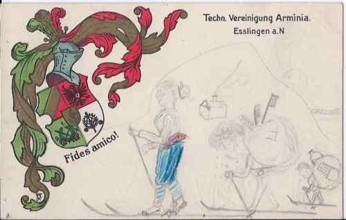 Studentika - Postkarte ARMINIA ESSLINGEN, gelaufen mit Briefmarke Deutsches Reich