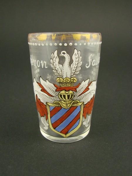 """Wappenglas """"GEORK VON FACHENBERG 1594"""", signiert Fritz Heckert."""