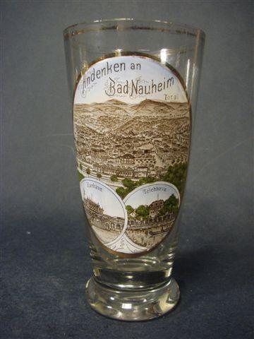 Andenken-, Bierglas mit lithographierter Ansicht BAD NAUHEIM, um 1900.