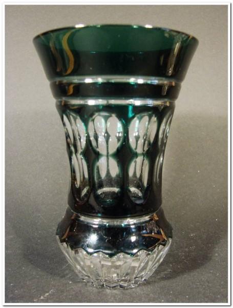 Becherglas mit Überfang von Val St. Lambert, signiert.