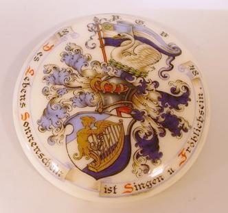 st160 / Studentika - Porzellanplakette für Bierkrug P.G.V. 1848 mit Zirkel