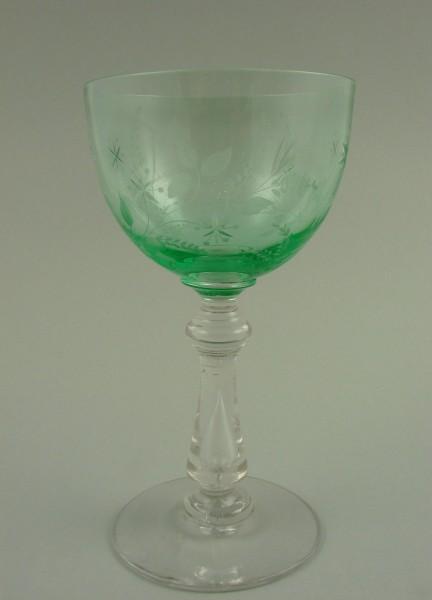 Jugendstil - Weinglas mit Uranglaskelch, um 1900.